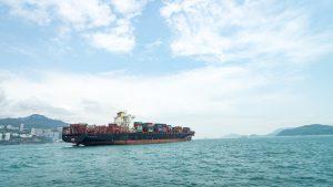 A cargo ship at sea