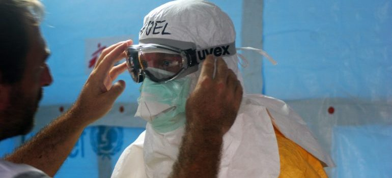 Man wearing a protective suit