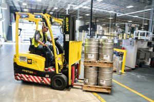 Man working inside warehouse