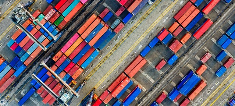 cargo containers on the dock