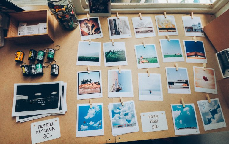 photographs on the table