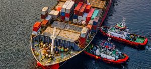 a container ship in a port
