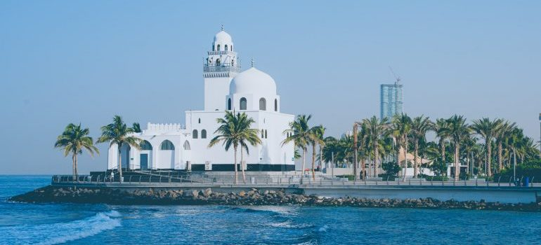 White concrete building near the Red sea in Jeddah